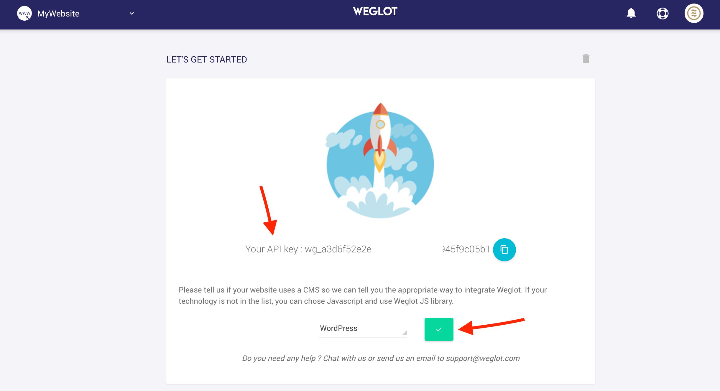 get API key weglot