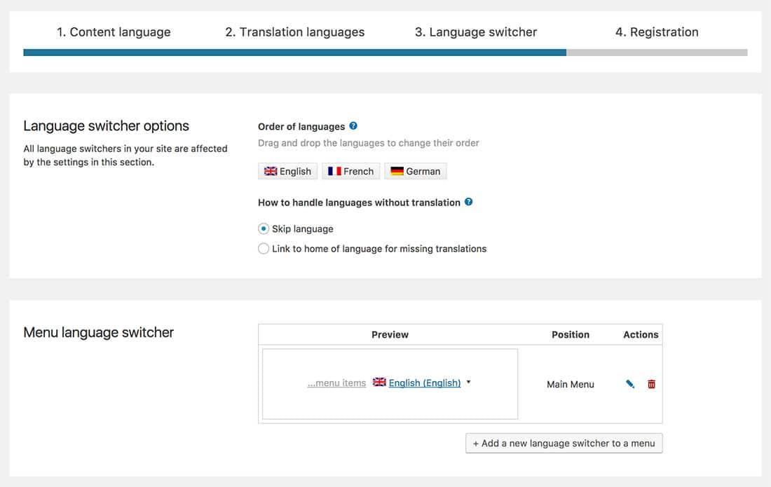 add language switcher wpml