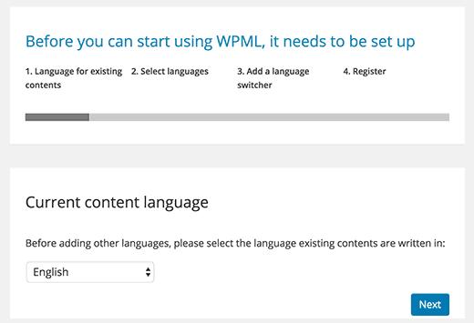 existing languages wpml