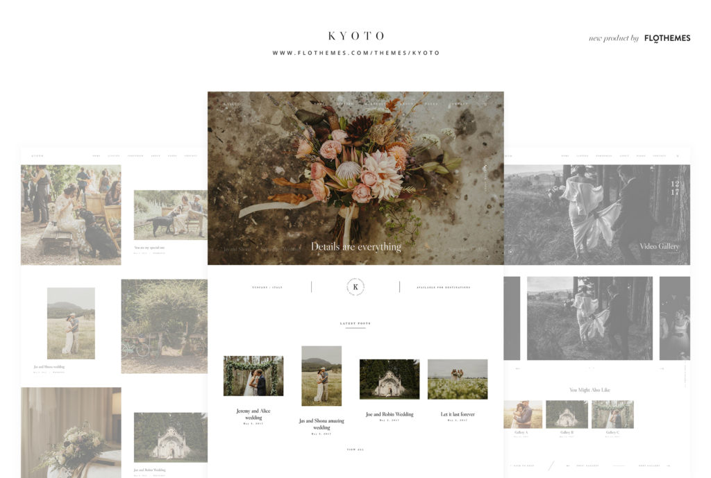 Kyoto Photography website Theme page layouts